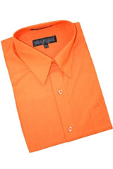 SK444 Orange Cotton Blend Dress Shirt With Convertible Cuffs