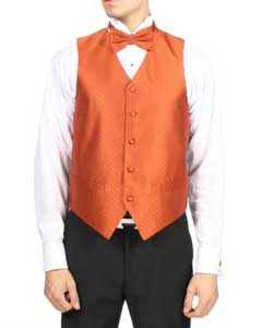 PN-S01 Tangerine Orange Diamond Pattern 4-Piece Vest Set