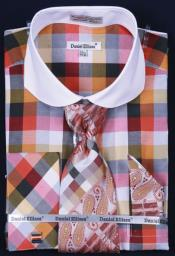 FrenchCuffDressShirtSetCheckerPatternOrangePlaid