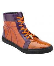 GD1730 Mens Lace Up Orange ~ Purple Genuine Crocodile