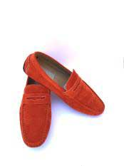Mens Slip-On Style Solid Orange