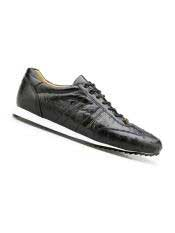 SM4988 Mens Genuine Ostrich Black Leather Lining Rubber Sole