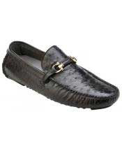 GD1735 Mens Slip On Genuine Ostrich ~ Calfskin Black