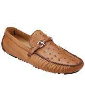 GD1734 Mens Brandy Slip On Genuine Ostrich ~ Calfskin