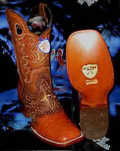 C-03Q Wild West Genuine Ostrich Square Cognac Rodeo Western