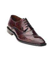 JSM-1338 Belvedere Nino Ostrich Eel Brogue Dark Red Shoes