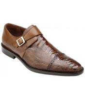 GD1739 Mens Monk Strap Antique Almond Genuine Ostrich &