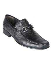 JSM-2922 Los Altos Genuine Ostrich Quill Bit Loafers Black