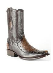 JSM-4266 Mens Burnished Brown King Exotic Genuine Ostrich Skin