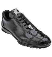 JSM-1239 Belvedere Ostrich Skin Casual Exotic Black Sneaker