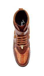 JSM-1223 Mens Belvedere Ostrich Skin Casual Honey Sneakers