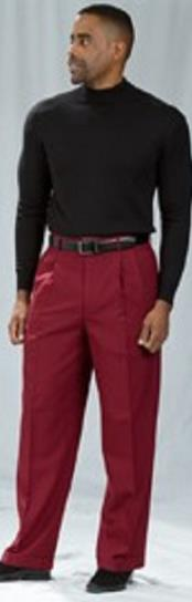 Pacelli Pleated Baggy Fit Burgundy