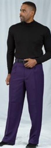 JSM-2184 Pacelli Pleated Baggy Fit Dark Purple Dress Pants