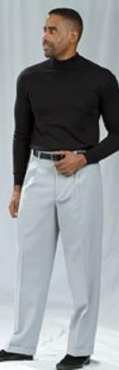 JSM-2192 Pacelli Pleated Baggy Fit Crystal Silver Dress Pants