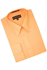 RT678 Peach Cotton Blend Dress Shirt With Convertible Cuffs