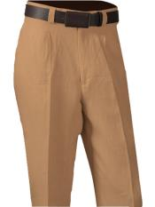 SM871 100% Linen Peach Single Pleated Slacks Pant