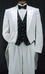 KO377 White Classic Fashion Basic Full Dress Tailcoat with