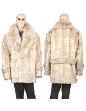 GD881 Mens Fur Pearl Genuine Mink Paws Pea Coat