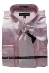 PS188 New Pink Satin Dress Shirt Tie Combo Shirts
