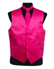 Vest Tie Set Hot Pink
