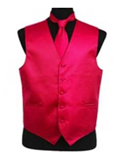 VS2026 Horizontal Rib Pattern Vest Tie Set Hot Pink