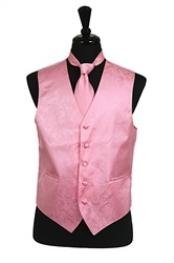 VS2780 Paisley tone on tone Vest Tie Set Pink