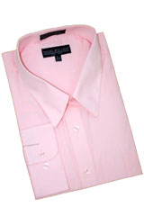 LP395 Pink Cotton Blend Dress Shirt With Convertible Cuffs