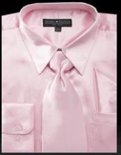 JSM-2754 Mens Shiny Satin Pink Dress Shirt Tie Set