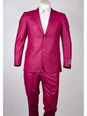 SM965 Single Breasted Pink Peak Lapel Two Button Slim