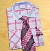 PN98 fuchsia ~ hot Pink / White Windowpanes Shirt