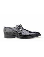 JSM-5773 Mens Black Plain Toe Genuine Alligator Tassel Laces