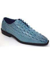 JSM-3313 Mens Denim Blue Stylish Plain Toe Oxford Gator