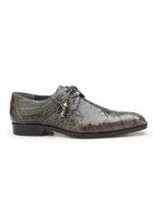 JSM-5775 Mens Gray Plain Toe Genuine Alligator Tassel Laces