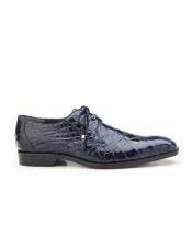 JSM-5776 Mens Navy Plain Toe Genuine Alligator Tassel Laces