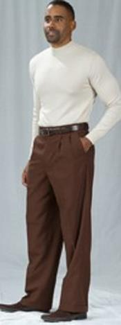 Pacelli Pleated Baggy Fit Brown