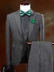 mens One Button Polka Dot