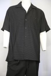 JA101 Mens Polka Dots Short Sleeve 2pc Walking Suit