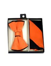 CH1691 Mens Polyester Black/Orange Satin dual colors classic Bowtie