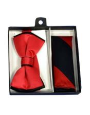 CH1694 Mens Polyester Black/Red Satin dual colors classic Bowtie