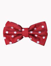 SM4580 Mens Polyester Red and White Polka Dot Pattern