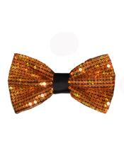 SM4598 Mens Polyester Gold Sequin Bowtie
