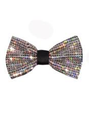 SM4590 Mens Polyester Sequin Bowtie Silver