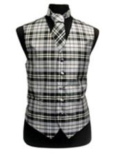 JSM-3290 Mens Slim Fit Polyester Plaid Design Vest/Bow Tie
