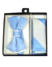 CH1705 Mens White / Light Blue Polyester Satin dual