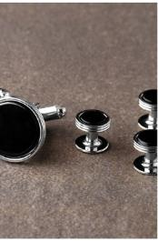 JSM-2343 Premium Onyx Triple Rim Silver Studs and Cufflinks