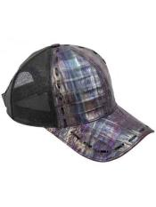 Ostrich Alligator Exotic Skin Purple/Black Baseball Cap