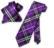 EV8689 Purple color shade Liquid Jet Black White NeckTie