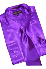 TH238 Satin Purple color shade Dress Shirt Tie Hanky