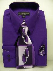 QL1002 Purple color shade Dress Shirt Tie Set
