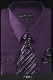 PU3823 Dress Shirt - PREMIUM TIE - Purple color